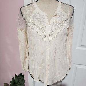 American Eagle Outfitters AEO lace button blouse